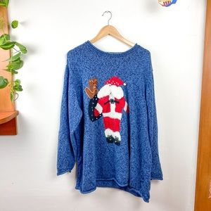 The Quacker Factory Back Front Santa Knit Sweater
